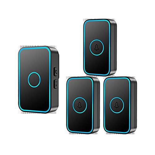 mrjg Campana para la Puerta Casa al Aire Libre inalámbrica Inteligente SmartHome Wireless of House Timbre inalámbrico autoalimentado (Color : 3button 1 Receiver)