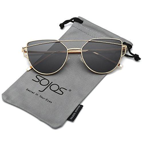 SOJOS Katzenauge Metall Rand Rahmen Damen Frau Mode Sonnenbrille Verspiegelt Linse Women Sunglasses SJ1001 mit Gold Rahmen/Grau Linse