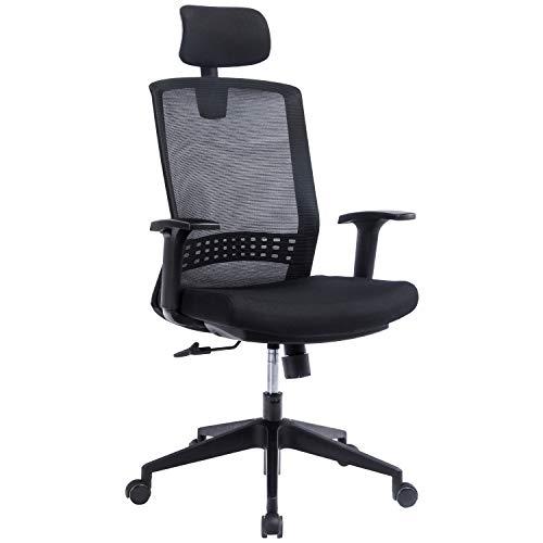 KCREAM Ergonomischer Bürostuhl aus Netzstoff, Computerstuhl mit Lendenwirbelstütze, mittiger Rückenlehne, Drehstuhl mit verstellbarer Kopfstütze und Armlehnen (schwarz)