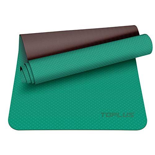 TOPLUS Preumium Yogamatte aus hochwertigen TPE, rutschfest Yogamatte Gymnastikmatte Übungsmatte Sportmatte für Yoga, Pilates,Fitness usw.- Maße 183cm Länge 61cm Breite (Grasig)