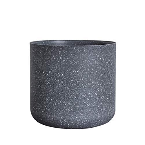 Bloempot van kunststof, eetkamertafel, bureautafel, rond, bloempot, decoratie voor thuis, frosted, bloempot, oppervlak zonder gat aan de bodem, 16 * 16 * 15CM, Donkergrijs
