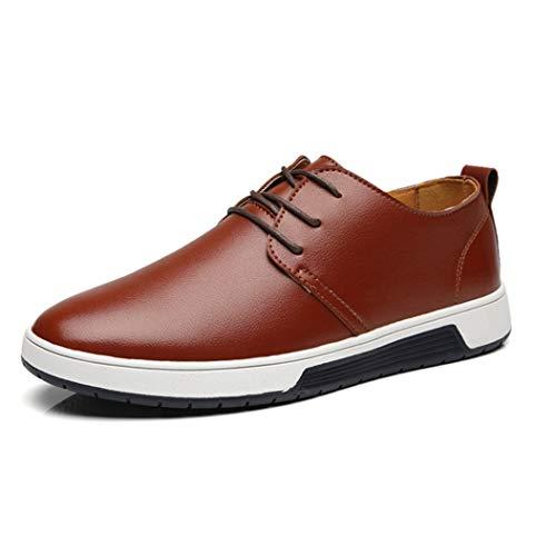 Zapatos de Negocios Casuales para Hombre con Cordones Oxford Walking Zapatos Planos de la Ciudad Zapatos de conducción cómodos Resistentes al Desgaste Zapatos de Vestir de Oficina Simples 38-48
