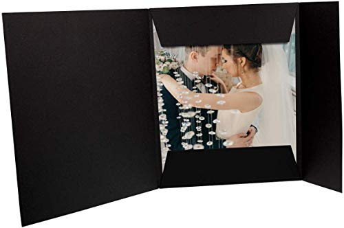 Golden State Art, Pack of 25, 8x10 Black Photo Folios - Cardboard Picture Folders - Great for Holding Multiple Prints - Weddings, Engagements, Birthdays, Photoshoots