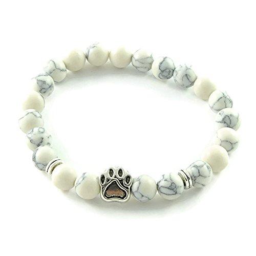 KENSONS for dogs Armband 'DogLove' | Mala Perle Howlith weiß-grau | Naturstein | Edelstein-Armband | Perlenarmband | Energiearmband | Schmuck Hund