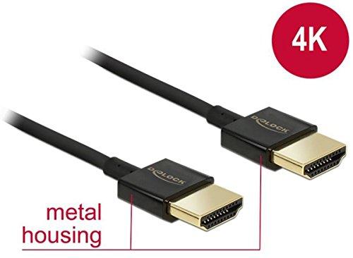 DELOCK Kabel High Speed HDMI mit Ethernet - HDMI-A Stecker > HDMI-A Stecker 3D 4K 1 m Slim Premium