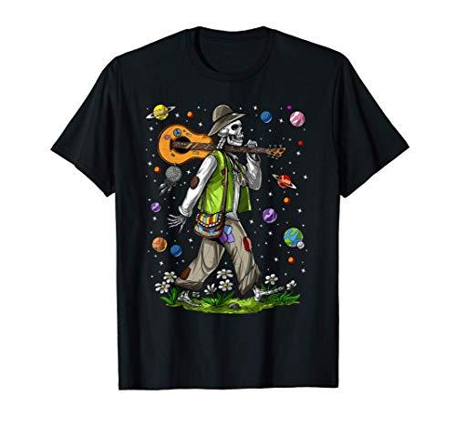 Esqueletos Hippie Guitarrista Psicodélico Bosques Fantasía Camiseta