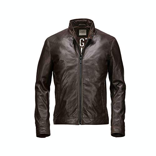 Bugatti Soft Biker Lederjacke (Dark Brown, 52)