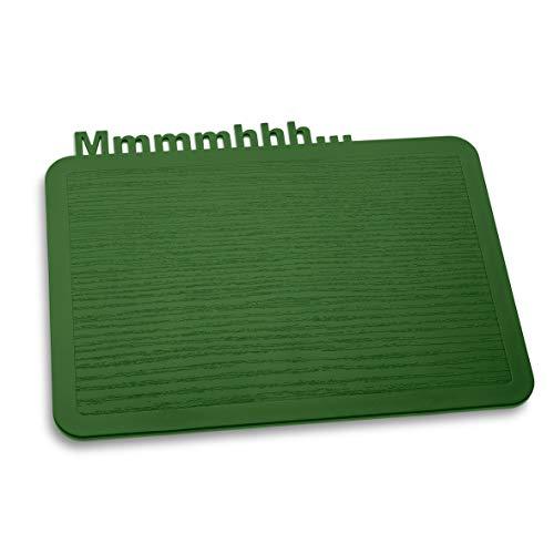 koziol Frühstücksbrettchen Happy Board Mmmmhhh…, Kunststoff, solid forest green, 19.2 x 24.7 x 0.5 cm