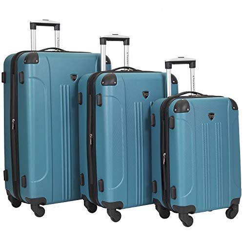 Travelers Club Chicago 2 3 Piece Hardside Expandable Spinner Luggage Set, Teal, 3 PC (20'/24'/28')