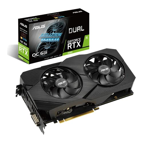 ASUS Dual Nvidia GeForce RTX 2060 6GB EVO OC Edition Gaming Grafikkarte (GDDR6 Speicher, PCIe 3.0, 1x HDMI 2.0b, 1x DVI, 1x DisplayPort 1.4, DUAL-RTX2060-O6G-EVO)