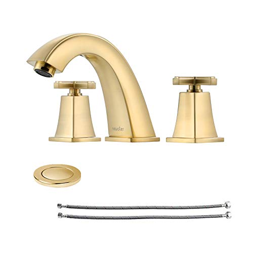 NEWATER 2-Handle Widespread Brass Bathroom Sink Faucet Three Hole Rv Commercial Lavatory Faucet with Metal Pop-up Drain Assembly & Supply Lines,Brushed Gold