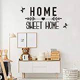 Sweet Home - Adhesivo decorativo para pared, diseño de palabras para decoración del hogar, para sala de estar, dormitorio de niños, color negro