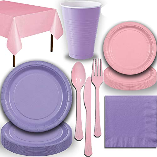 Disposable Party Supplies, Serves 40 - Lavender and Light Pink - Large and Small Paper Plates, 12 oz Plastic Cups, Heavyweight Cutlery, Napkins, and Tablecloths. Full Two-Tone Tableware Set