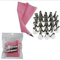 ケーキスタンド・ドーム ピンクのシリコーン絞り袋のヒント48アイシング配管ノズル+クリーム再利用可能な絞り袋ケーキデコレーションツールペストリーノズル (Color : 26PCS)