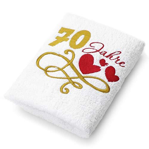 Abc Casa Geschenk-Handtuch zum 70 Geburtstag mit aufgestickten Herzen und 70 Jahre für Frauen und Damen - eine praktische 70 jähriges Jubiläum Geschenkidee - nützliches 70 Jahre Geburtstagsgeschenk