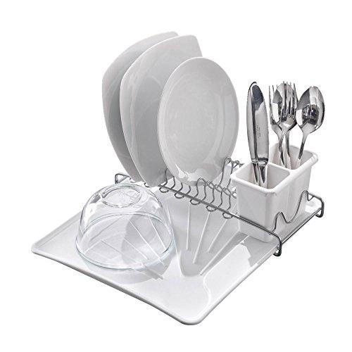 Metaltex 325702322 Égouttoir à Vaisselle SpaceTex avec Couverts et bac à égouttage, Métal, Blanc/Argent, 35 x 31 x 12 cm
