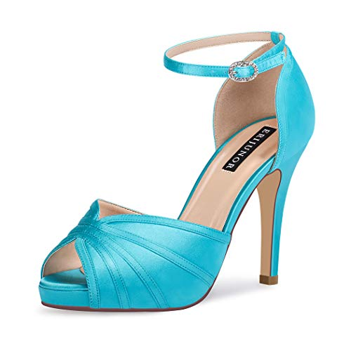 ERIJUNOR E1773 Women's High Heel Sandals Ankle Strap Satin Evening Party Prom Shoes Turquoise Size 7