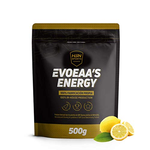 HSN Sports Aminoácidos Esenciales en Polvo EvoEAAs Energy | Essential Amino Acids | con Cafeína, Energía, Recuperador, Ganar Masa Muscular, Vegano, Sin Gluten, Sin Lactosa, Sabor Limón, 500 gr
