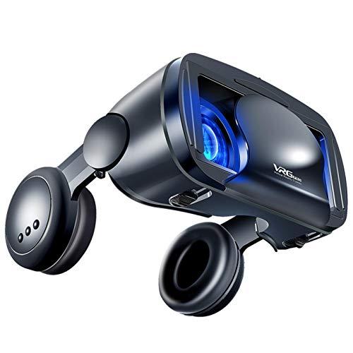 3D VR auriculares, gafas 3D VR gafas de realidad virtual con auriculares para películas y juegos en 3D, compatible con 5 a 7 pulgadas Smartphone