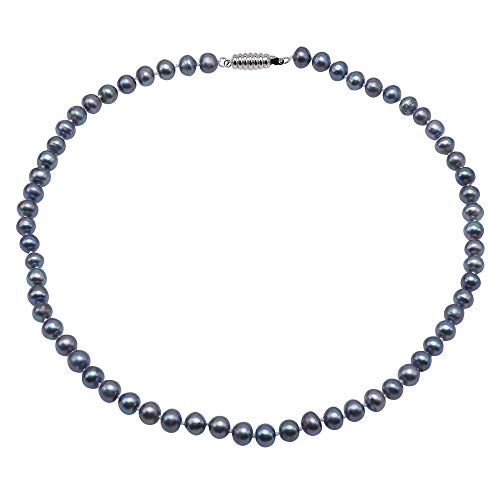 JYX - Collar de perlas negras y azules redondas planas de 7 a 8 mm, collar de perlas cultivadas de agua dulce para mujer, 44,5 cm