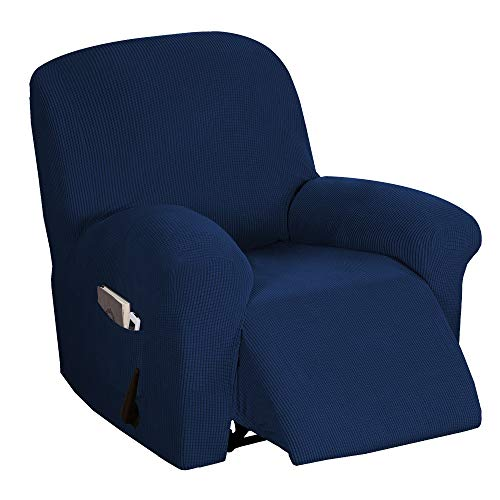 Stretch Recliner Chair Cover Recliner Cover for Electric/Manual Style | Furniture Cover for Reclining with Side Pocket, Soft Checked Jacquard Fabric Form Fitted Standard/Oversized - Navy