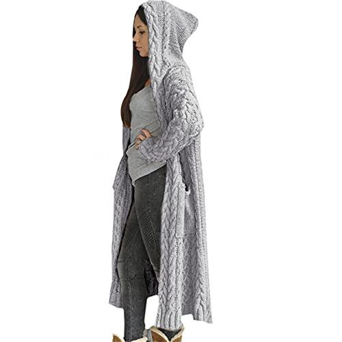 Watopia Damen Strickjacke Pullover Cardigan Langarm Oversize Frühling/Winter/Herbst Lang Mantel Long Kapuzenpullover Grobstrick...