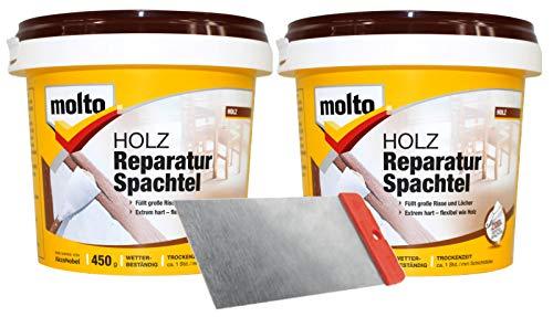 Molto Holz Reparatur Spachtel 2x 0,450kg Holzspachtel innen außen Set