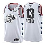 Paul George Camiseta de baloncesto para hombre, Oklahoma City Thunder # 13 Camiseta sin mangas Ventilador de bordado Camiseta de baloncesto Camiseta transpirable absorbente de sudor Limpieza repetible