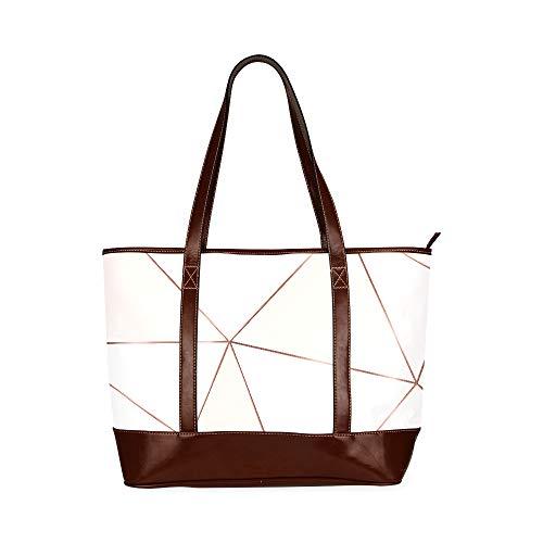 QIAOLII Kupfer Metallic Polygonal Textur Bronze Glitter Handtasche Für Mädchen Tragetasche Umhängetasche Große Kapazität Bedruckte Umhängetaschen Mit Reißverschluss Oberer Griff
