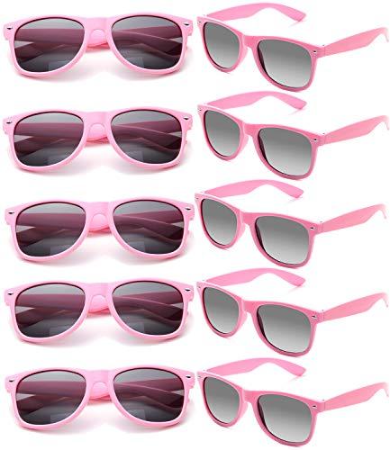 FSMILING 10 Colorati Neon Occhiali Da Sole Festa,Set Occhiali Party Adulti,Vintage Occhiali Feste Unisex-adulto Per Uomo E Donna Protezione Uv400,rosa