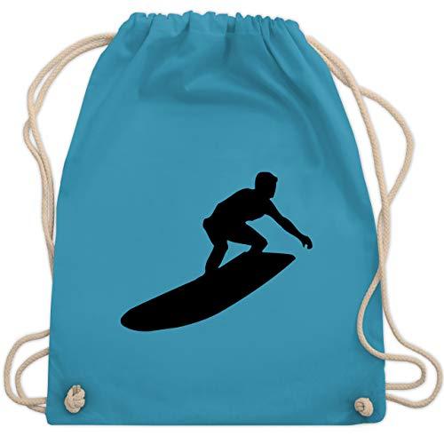Shirtracer Wassersport - Surfer Silhouette - Unisize - Hellblau - turnbeutel surfer - WM110 - Turnbeutel und Stoffbeutel aus Baumwolle