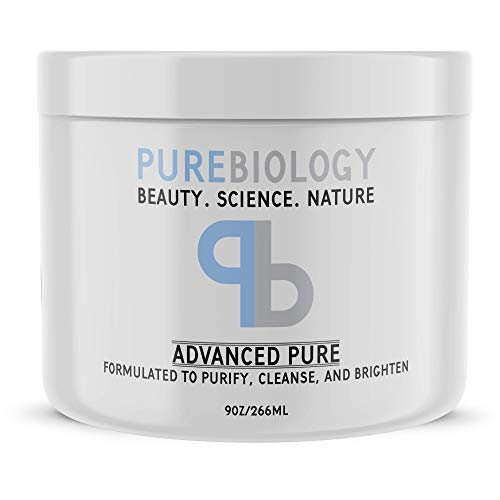 Pure Biology Face Mask w/Bentonite Clay, Kaolin Clay, Pea Peptides, Vitamins A + E – Cleanse,...