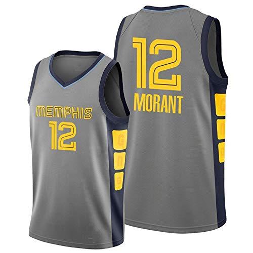 HYQ Baloncesto Jersey Memphis Grizzlies Jersey de Baloncesto # 12, Uniforme Jersey Vintage Comfort Tela NBA sin Mangas del Chaleco de los Hombres,Gris,L=52