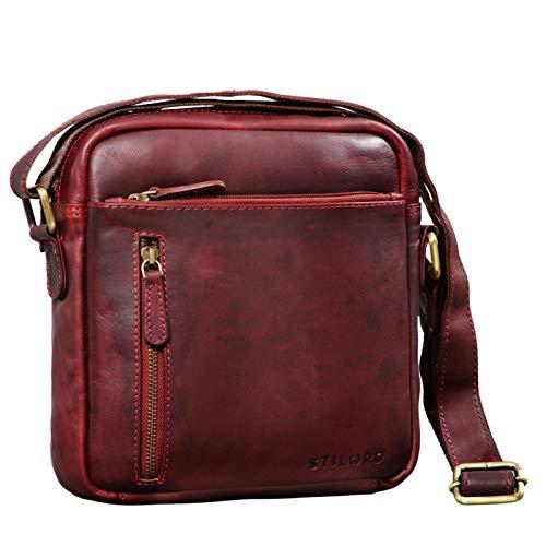 STILORD 'Hugo' Borsello Pelle Morbida Uomo Borsa Tracolla Piccola Vintage Borsetta Messenger Cross Body Bag per Tablet 9,7 pollici, Colore:rosso