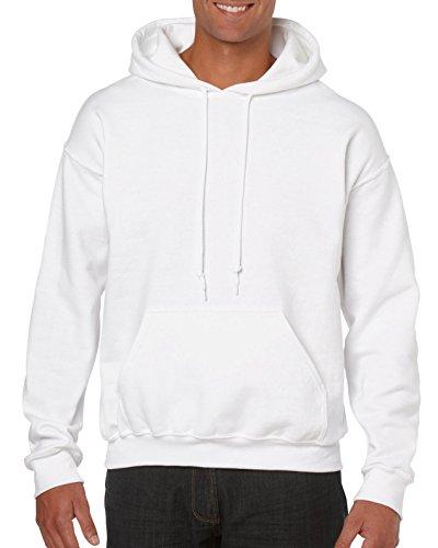 Gildan Men's Fleece Hooded Sweatshirt, Style G18500, White, Medium
