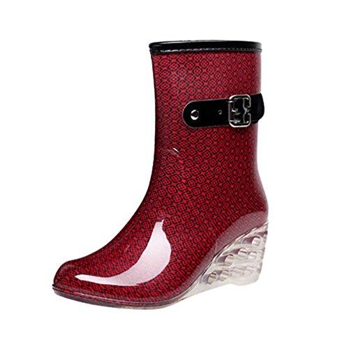 LvRao Frauen Absatzschuhe Stiefel mit Reißverschluss wasserdichte Gartenschuhe | Damen Punkt-Muster Regen Boots Wellies Gummistiefeln Rot Etikett 37, EU 37