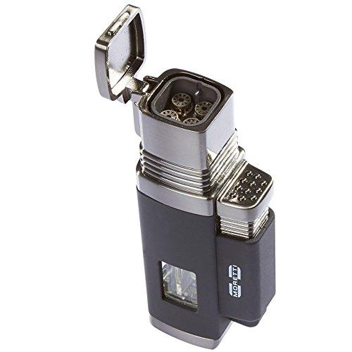 Moretti Vertigo Churchill Quad Flame Butane Torch Cigar Lighter w/ Punch Cutter (Quad Flame, Black)