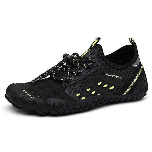 UBFEN Water Shoes Mens Womens Swimming Shoes Aqua Shoes Beach Sports Quick Dry Barefoot for Boating Fishing Diving Surfing with Drainage Driving Yoga D Black Green 13 Women / 11 Men