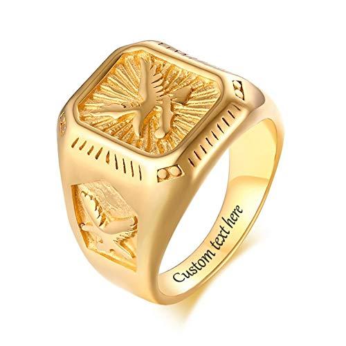 Lafeil Herrenring Edelstahl Adler Gold Herren Ring Edelstahl 18.5cm Breit Ring Gr. 65 (20.7)