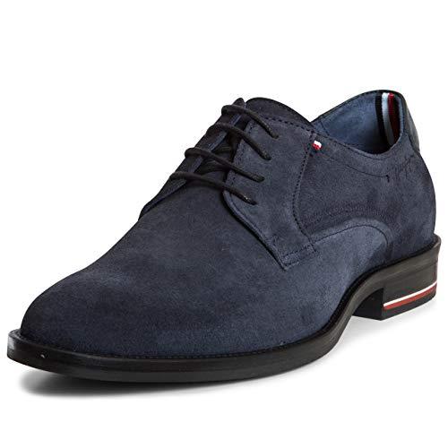 Tommy Hilfiger Herren Signature Hilfiger Suede Shoe Derbys, Blau (Midnight 403), 45 EU