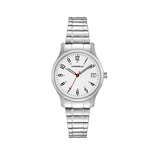 Caravelle Designed by Bulova Women's Quartz Watch with Stainless-Steel Strap, Silver, 15 (Model: 43M119)