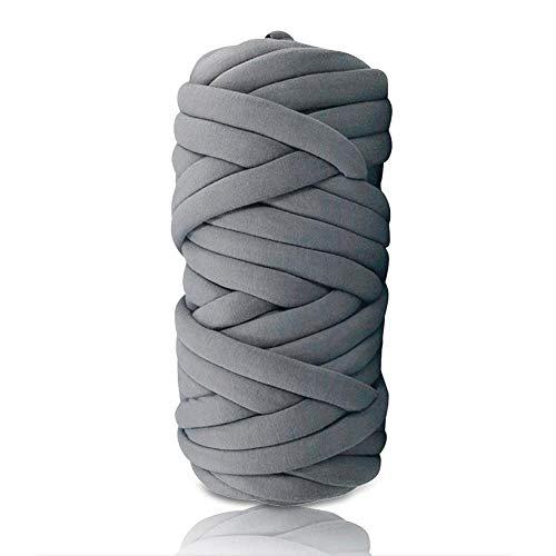 Filato Vegan super grosso in acrilico spesso Roving lavabile morbido e grosso filato Jumbo per lavori a maglia del braccio Kit fai da te coperte fatte a mano (grigio scuro, 25 m)