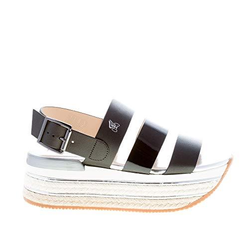 Hogan Donna H430 Sandalo con Fasce in Pelle e Vernice Nero e Suola Maxi in Corda. Tacco 5,5 cm Color Nero Size 38