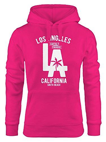 Neverless Hoodie Damen Los Angeles California LA Palme Sweatshirt Kapuze Kapuzenpullover pink XL