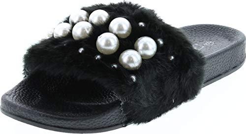 of forever women slippers Forever Link Izzy-33 Womens Open Toe Faux Pearl Embellished Flip Flop Slide Flat Sandal Slippers
