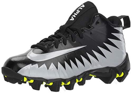 Nike Men's Alpha Menace Shark Football Cleat Black/Metallic Silver/White Size 8.5 M US