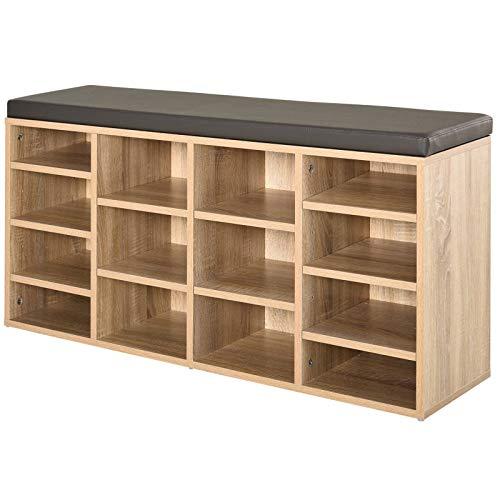 Lzcaure Zapatero de piel sintética con 14 compartimentos para zapatos, color marrón y roble de pasillo, sala de estar y baño