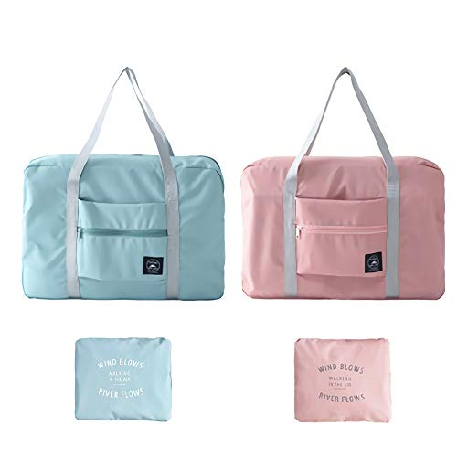 Foldable Travel Duffel Bag,Sport Totes,Shoulder Shopping Bag,Luggage Bag,2 Pack (Pink+Blue)
