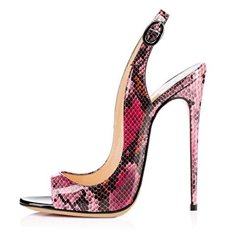 EDEFS Damen Peep Toe Sandaletten,Sexy Schlange Sandalen,Mode High Heel Schuhe,Purple EU36
