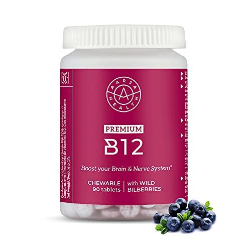 B12 Vitamina Vegana para los que deseen más Energía y Sentirse Mejor - Complejo Vitamina B12 para 3 Meses con rico Rico Arándanos Nórdicos - Aarja Health